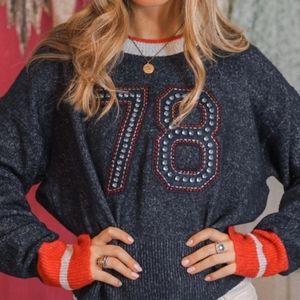 Wildfox Malone 78 Embellished Varsity Sweater M